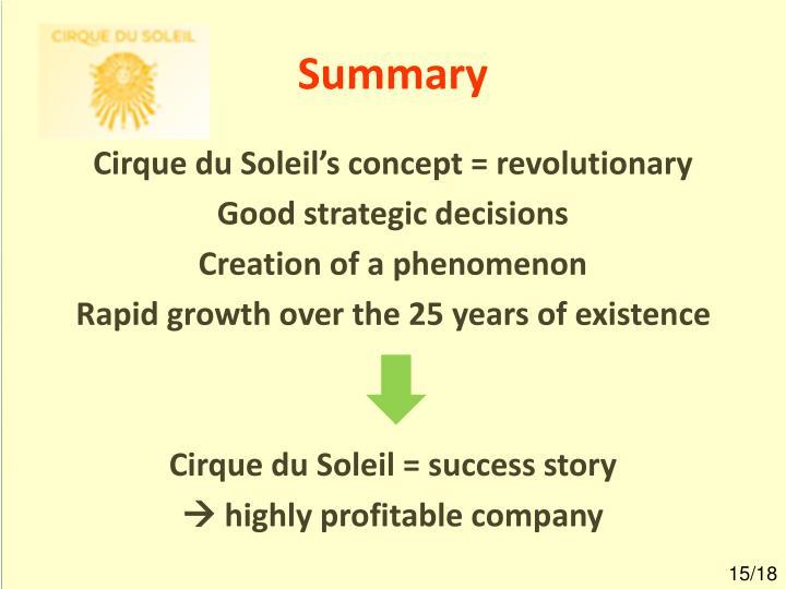 cirque du soleil success factors