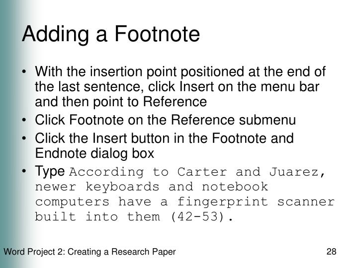 Adding a Footnote