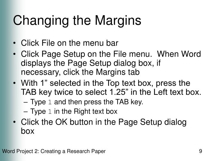 Changing the Margins