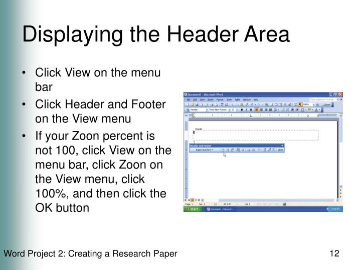 Displaying the Header Area