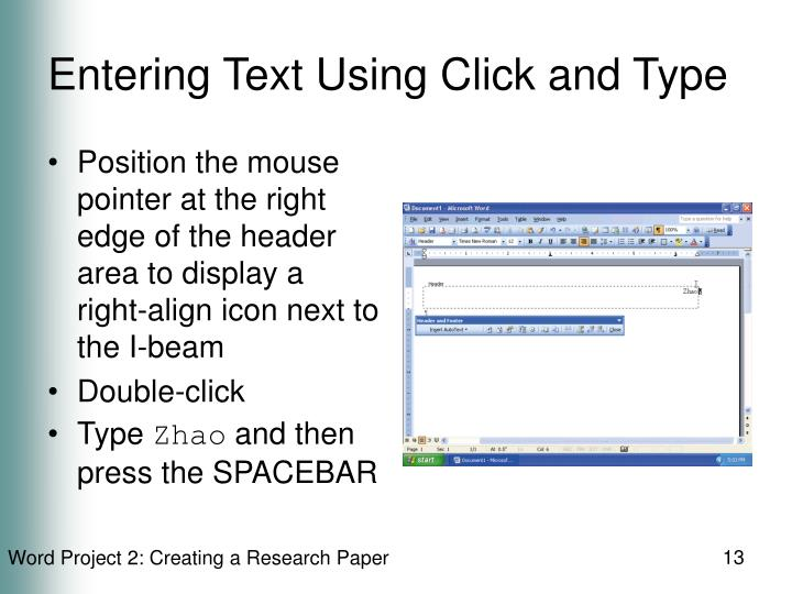 Entering Text Using Click and Type