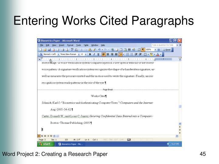 Entering Works Cited Paragraphs