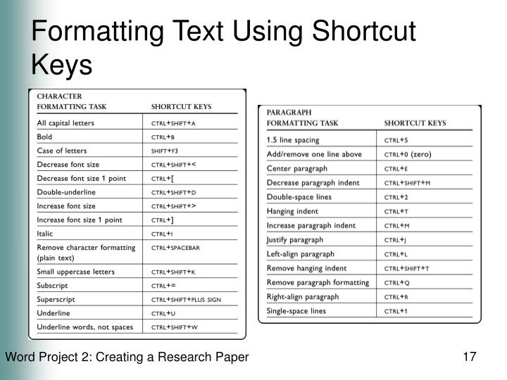 Formatting Text Using Shortcut Keys