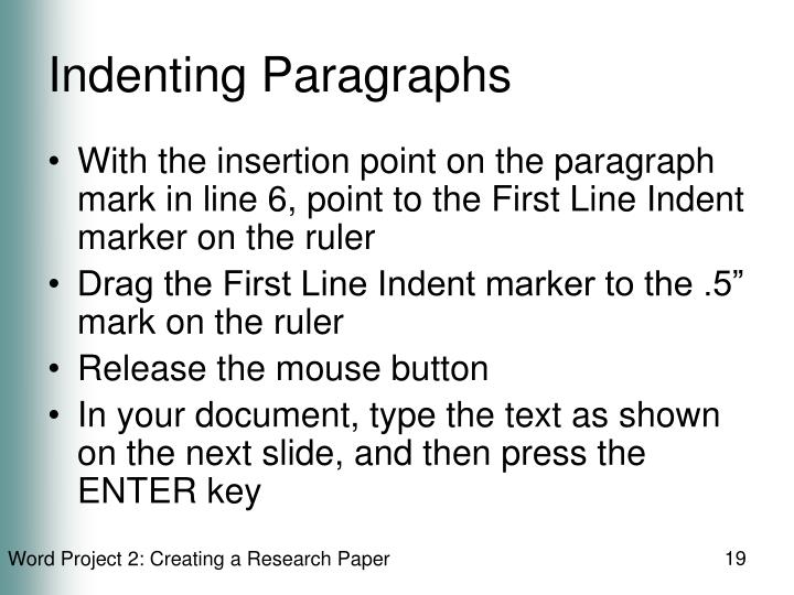 Indenting Paragraphs