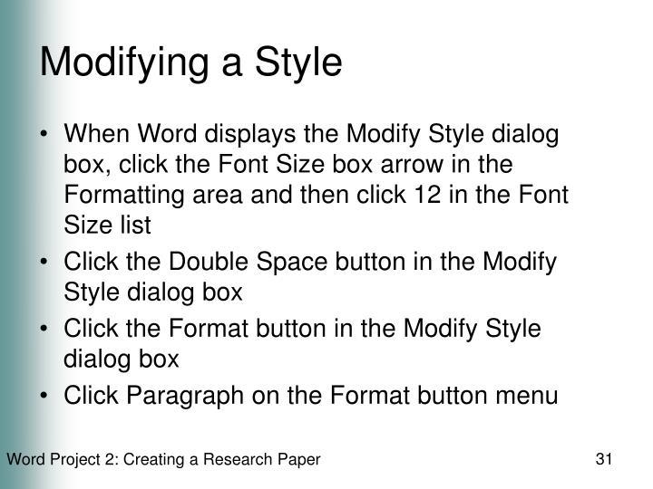 Modifying a Style