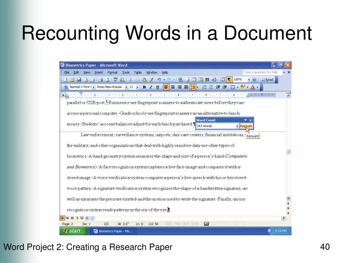 Recounting Words in a Document