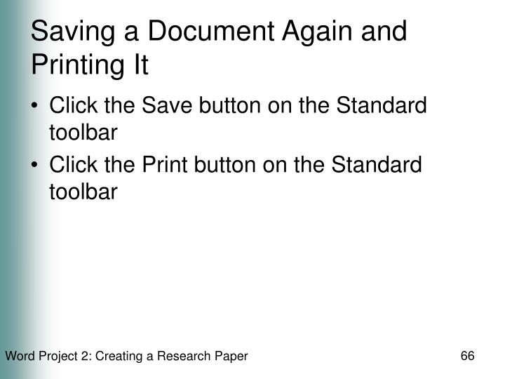 Saving a Document Again and Printing It