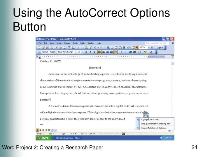 Using the AutoCorrect Options Button