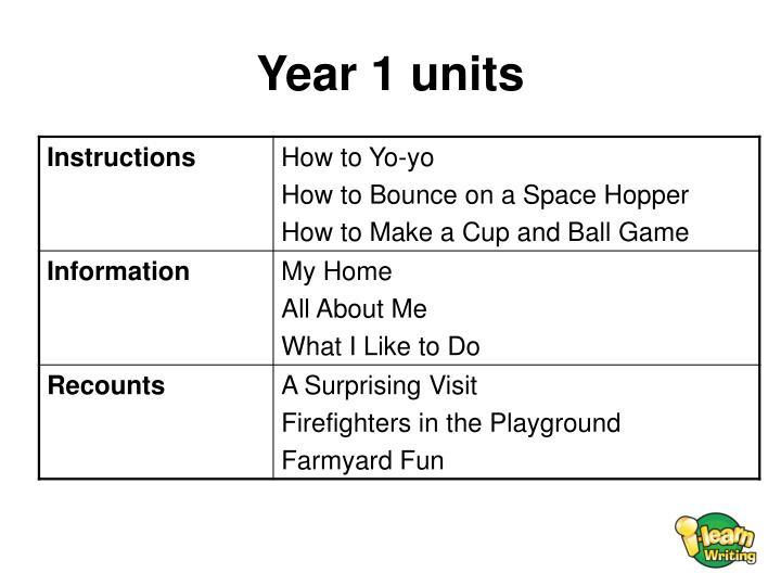 Year 1 units