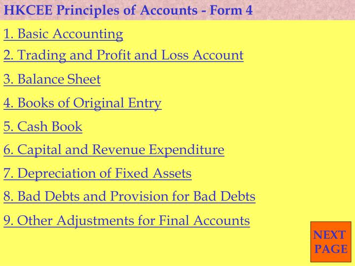 PPT - HKCEE Principles of Accounts - Form 4 PowerPoint