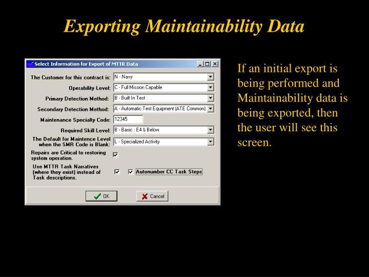 Exporting Maintainability Data
