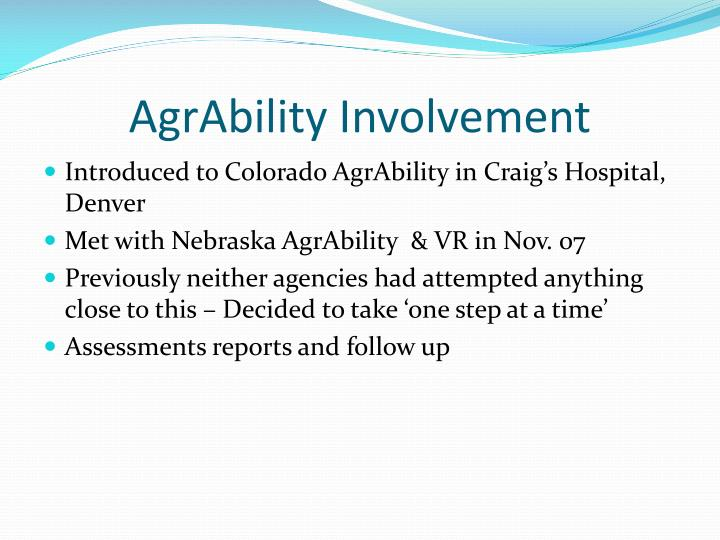 AgrAbility Involvement