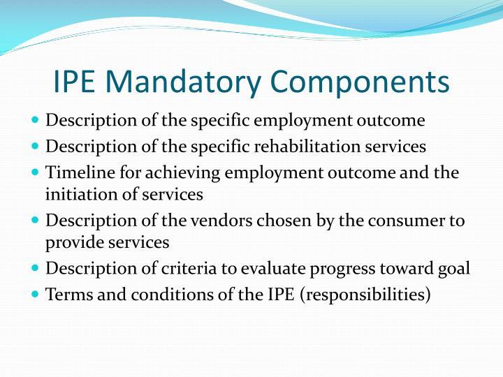 IPE Mandatory Components