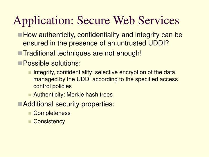 Application: Secure Web Services