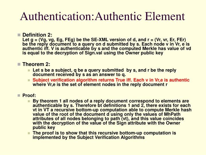 Authentication:Authentic Element