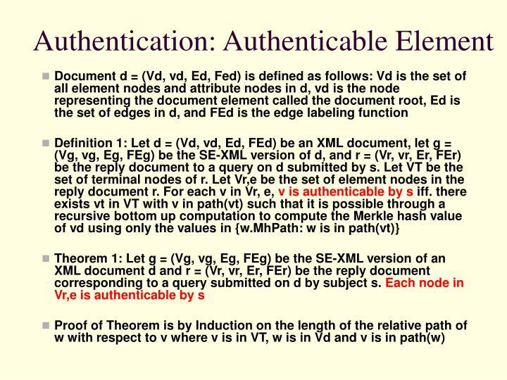 Authentication: Authenticable Element