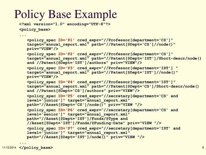 Policy Base Example