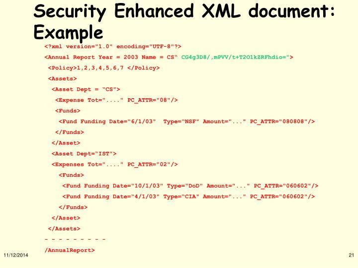Security Enhanced XML document: Example