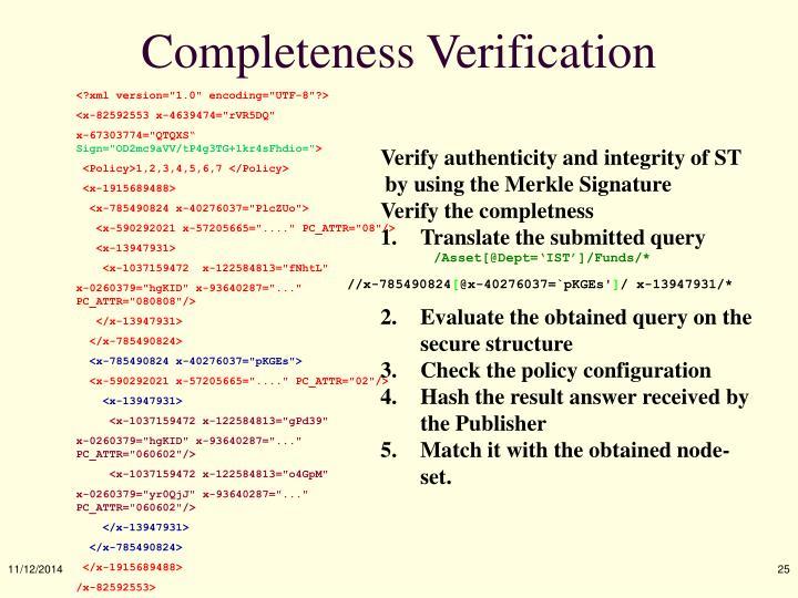 Completeness Verification