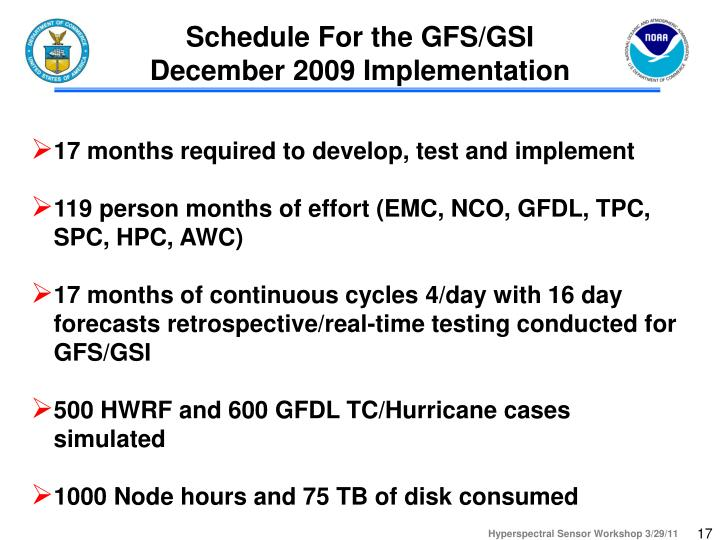 Schedule For the GFS/GSI