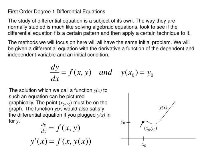 First Order Degree 1 Differential Equations