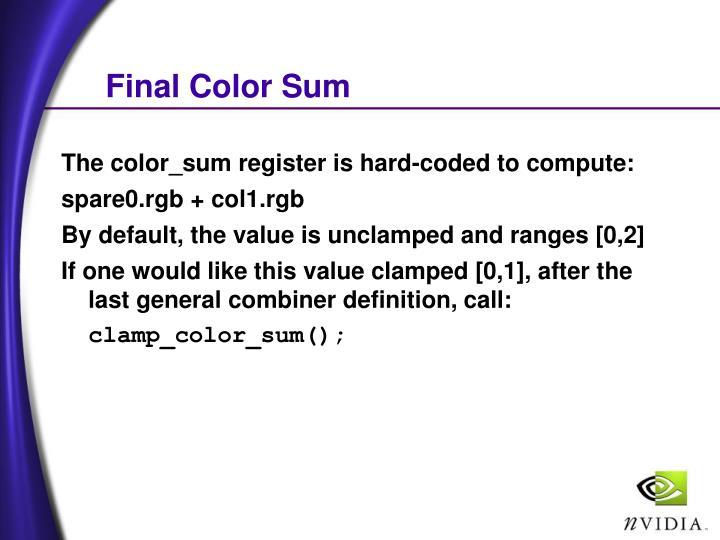 Final Color Sum