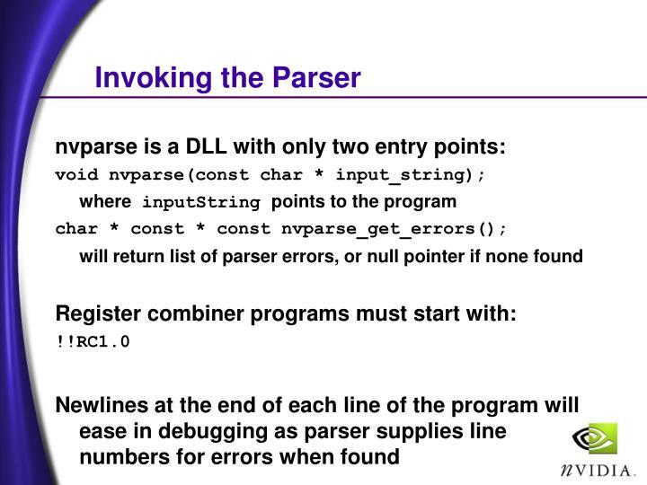 Invoking the Parser