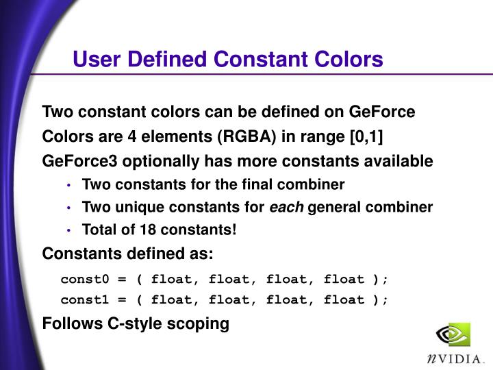 User Defined Constant Colors