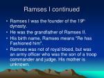 ramses i continued