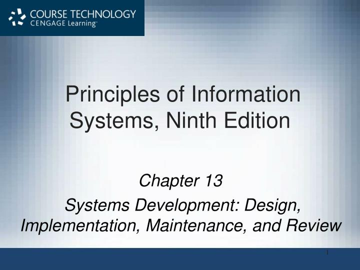 principles of information systems ninth edition n.