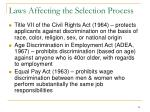 laws affecting the selection process
