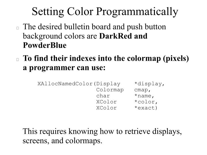 Setting Color Programmatically