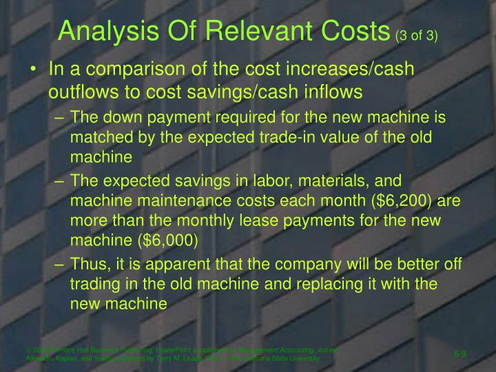Analysis Of Relevant Costs