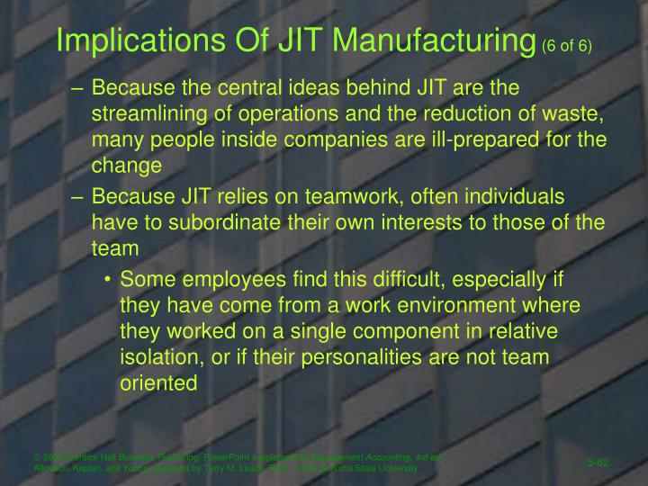 Implications Of JIT Manufacturing