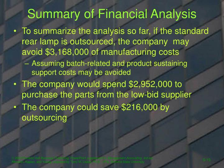 Summary of Financial Analysis