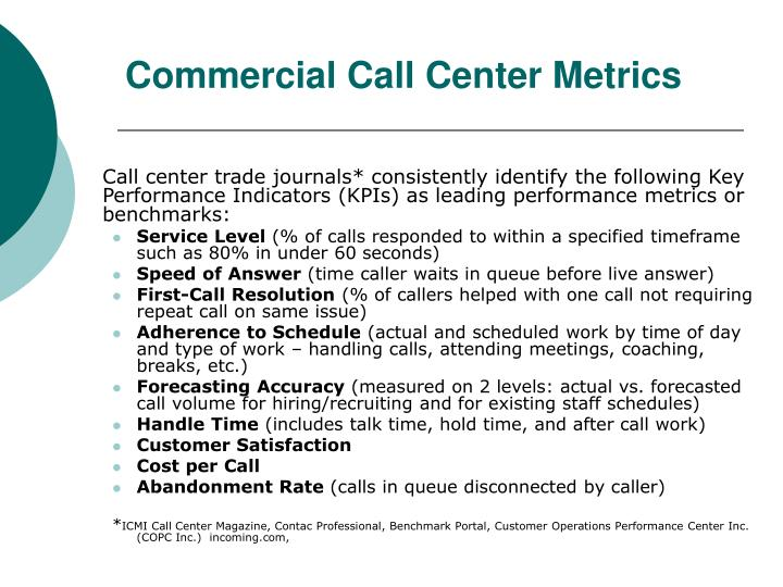 Commercial Call Center Metrics