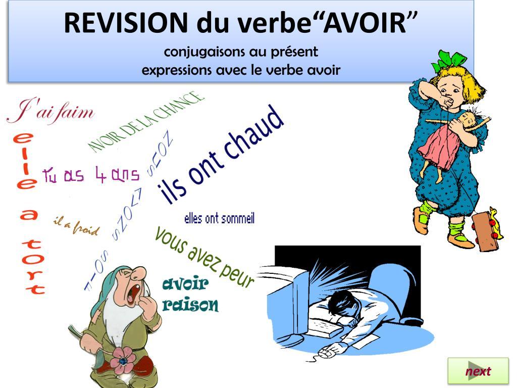 Ppt Revision Du Verbe Avoir Conjugaisons Au Present Expressions Avec Le Verbe Avoir Powerpoint Presentation Id 6528823
