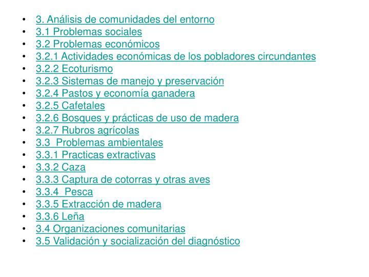3. Análisis de comunidades del entorno