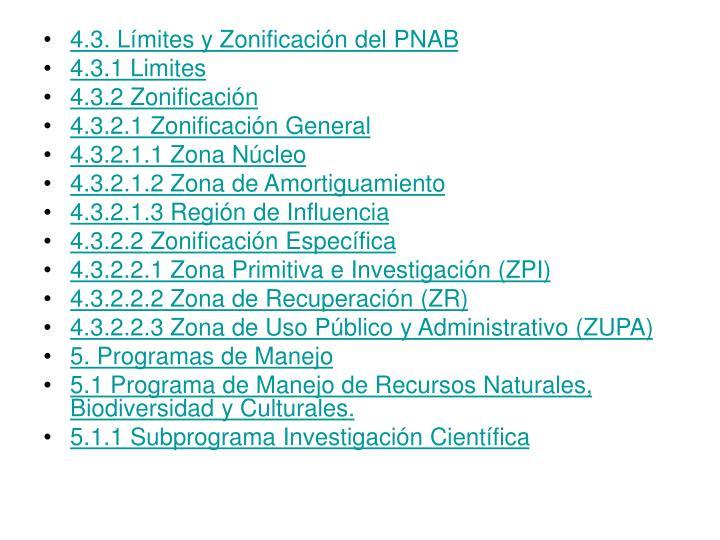 4.3. Límites y Zonificación del PNAB