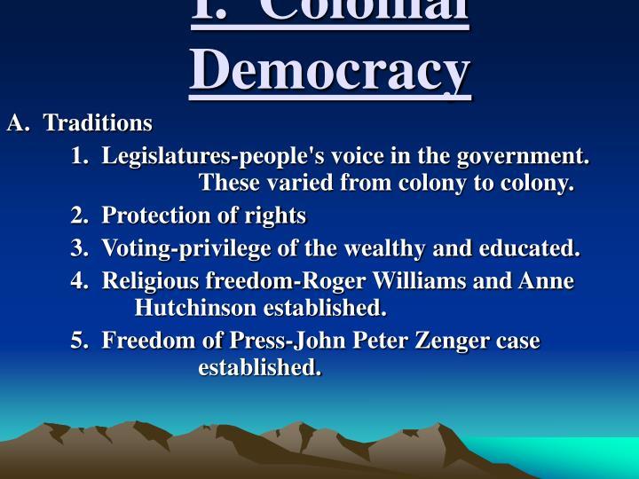 I colonial democracy
