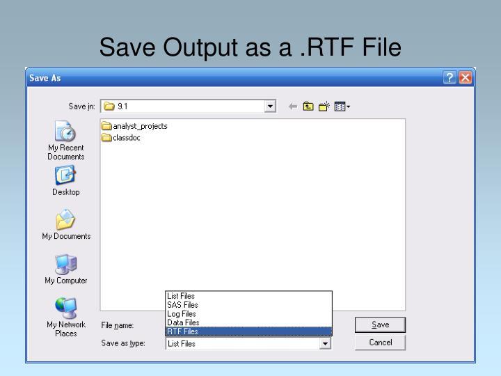 Save Output as a .RTF File