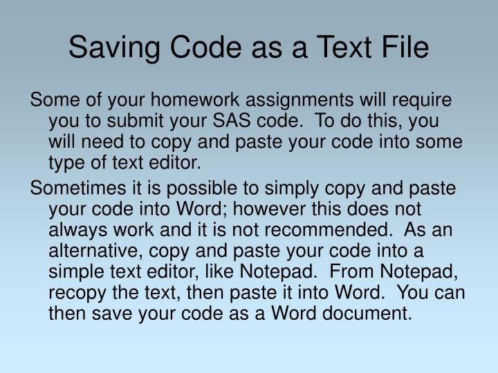 Saving Code as a Text File