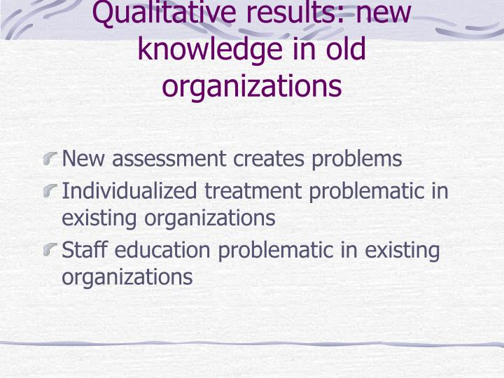 Qualitative results: new knowledge in old organizations