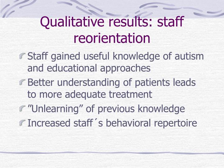 Qualitative results: staff reorientation