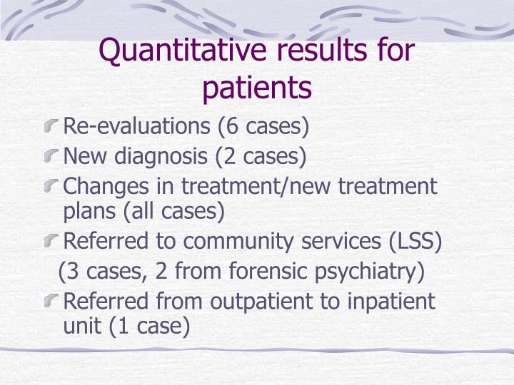 Quantitative results for patients