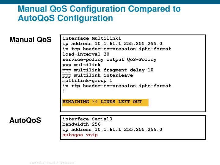 Manual QoS Configuration Compared to AutoQoS Configuration