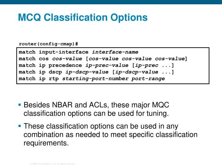MCQ Classification Options