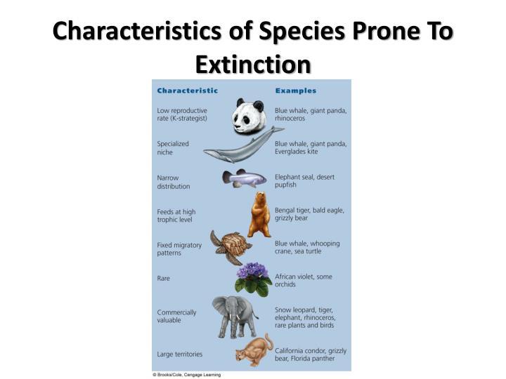 Characteristics of species prone to extinction