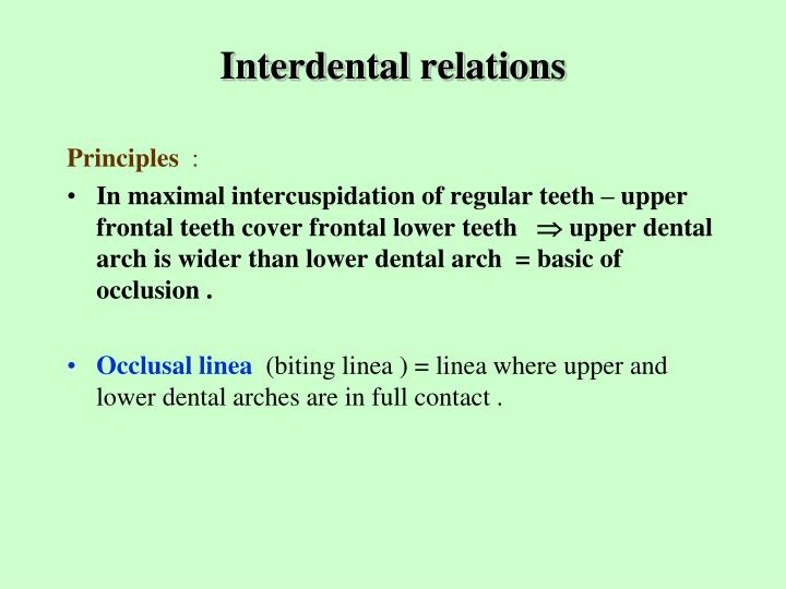 Interdental relations2