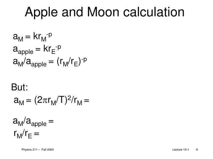 Apple and Moon calculation